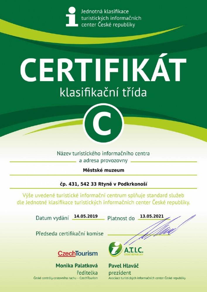 Certifikát TIC Rtyně