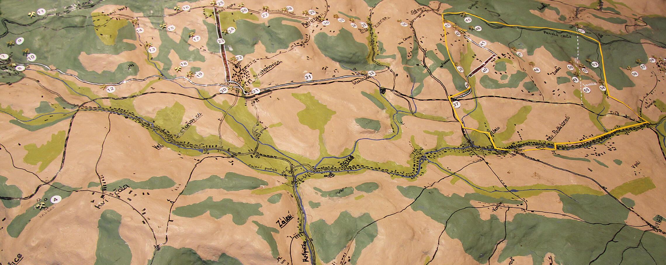 Mapa důlních děl Jestřebích hor